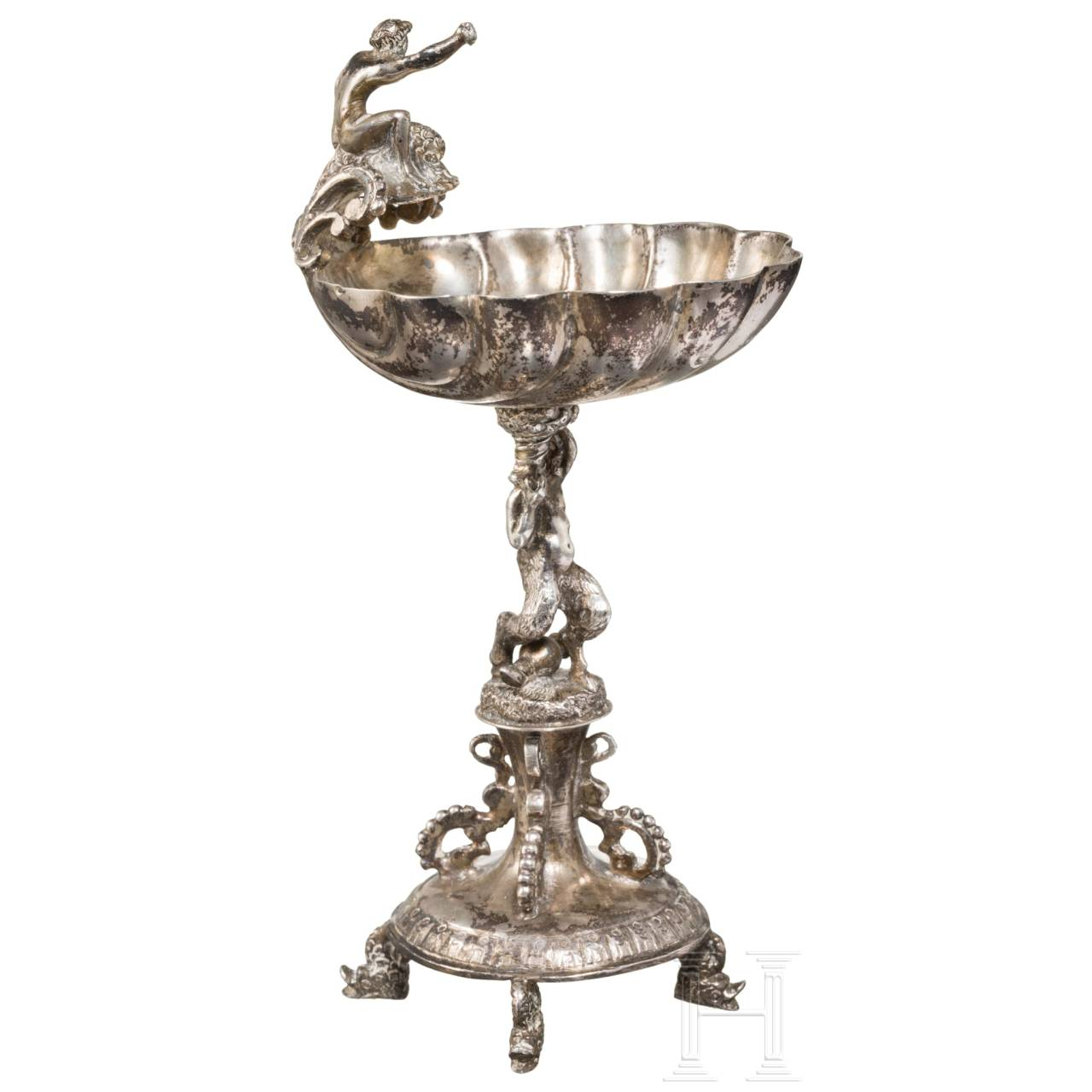 A stamped small silver salt dish in Renaissance style, Augsburg, circa 1800