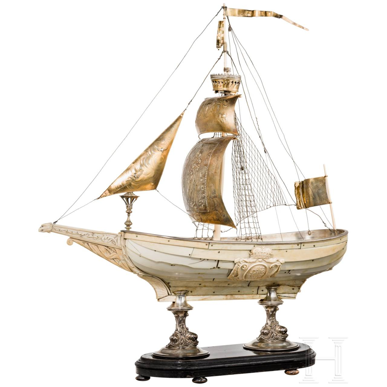 A magnificent, French or German table centrepiece in the shape of a large ivory ship, 1st half of the 19th century