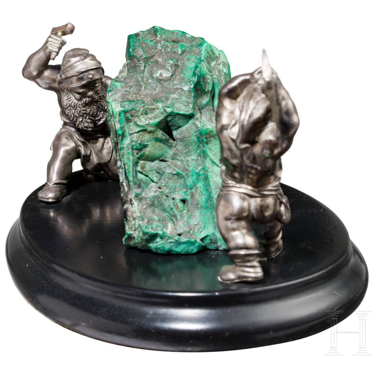 A German paperweight with chunk of copper-ore and silver miners, circa 1860/70