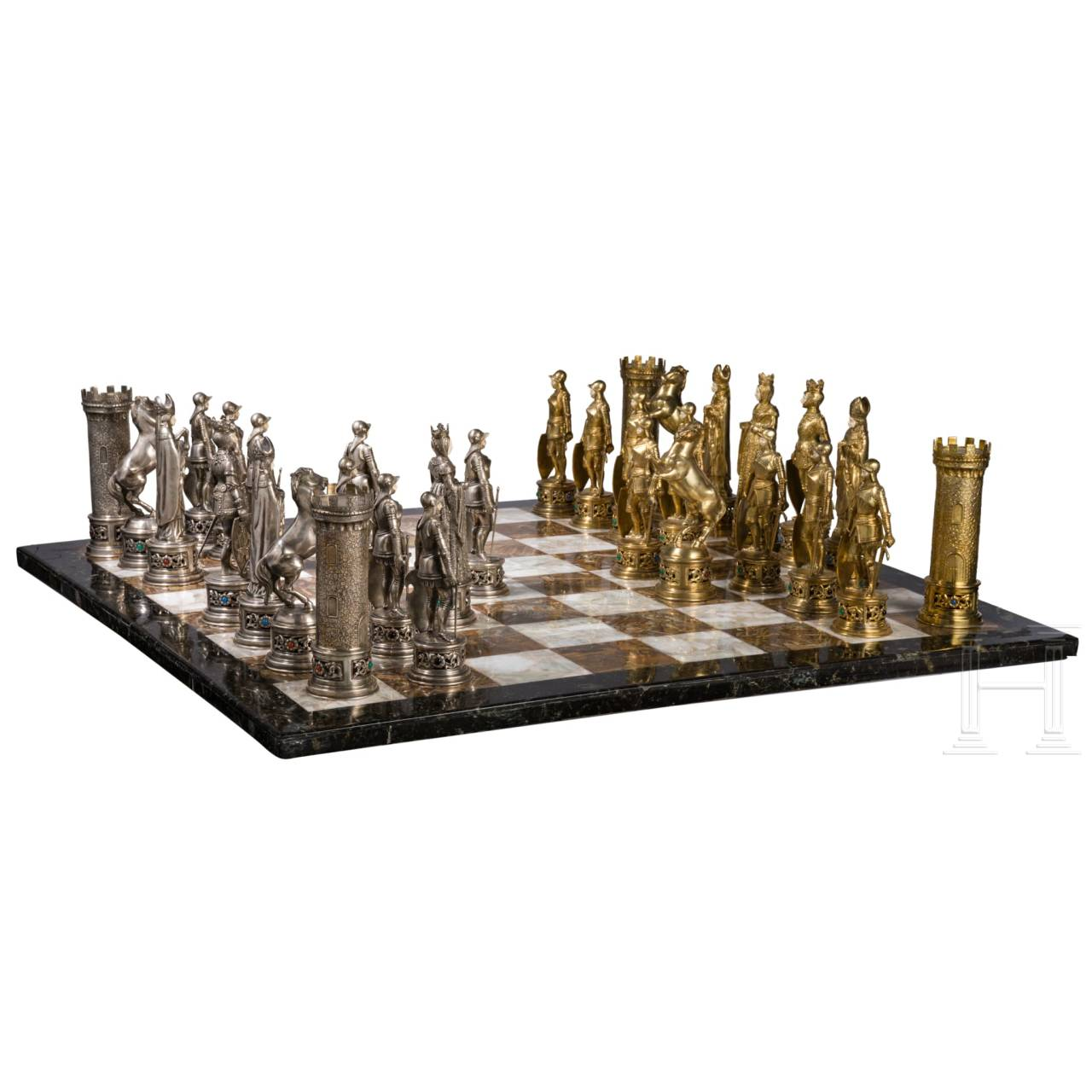 A magnificent chess set, probably Hanau, circa 1900