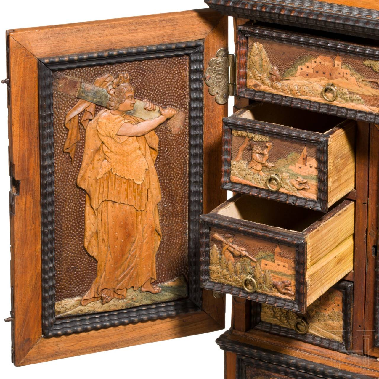 A fine, small Eger cabinet casket from the estate of Count von Solms, workshop of Johann Karl Haberstumpf (1654 - 1724), Eger, circa 1690 – 1710