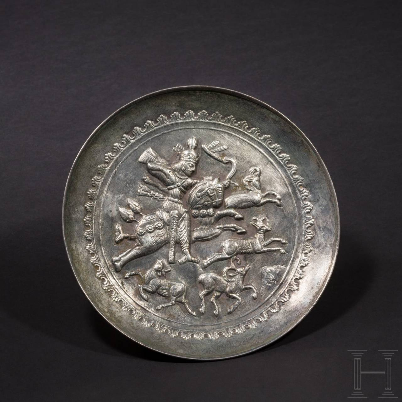 A royal Sasanian silver plate with a depiction of the hunting Shapur II, 4th century A.D.