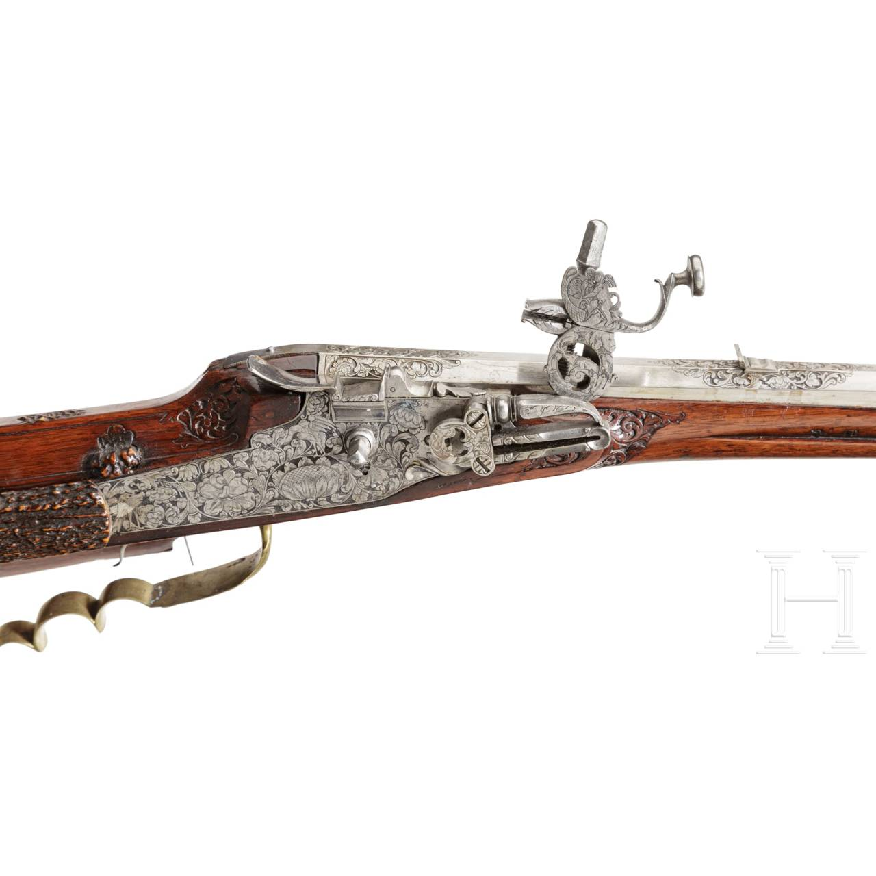 A German hunting wheellock rifle, the stock inlaid with staghorn, circa 1700
