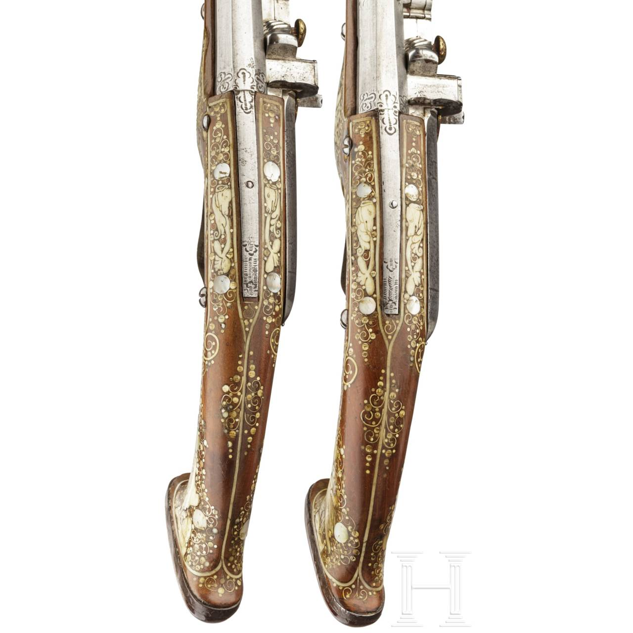 A distinguished pair of Bohemian long deluxe wheellock pistols, circa 1640