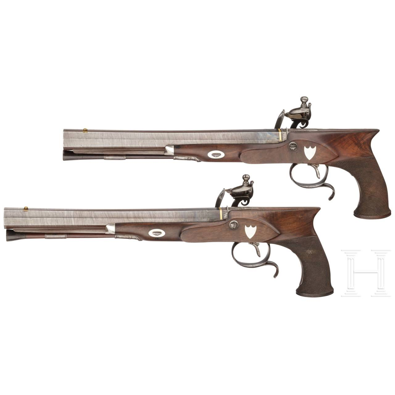 A cased pair of flintlock pistols with a detachable stock, H. W. Mortimer & Co. of London, circa 1810