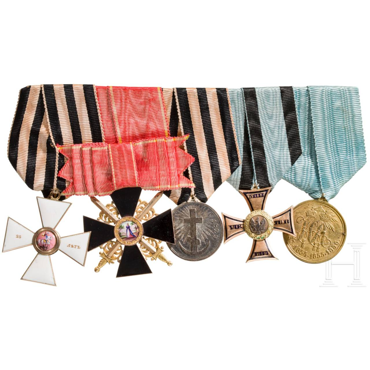 A rare Russian medal bar with Order of St. George, cross 4th class for 25 years of service, Order of St. Anna, cross 3rd class with Swords, Order of Virtuti Militari, cross 4th class, mid-19th century