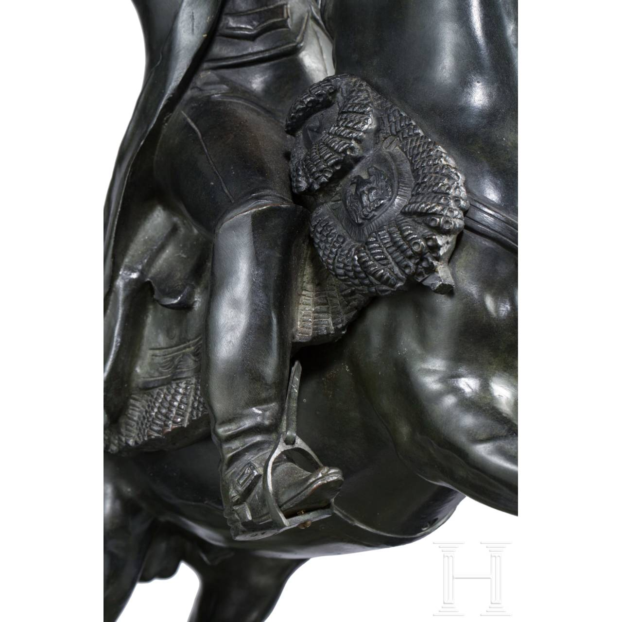 A monumental bronze figure of Emperor Napoleon I on a rampant horse