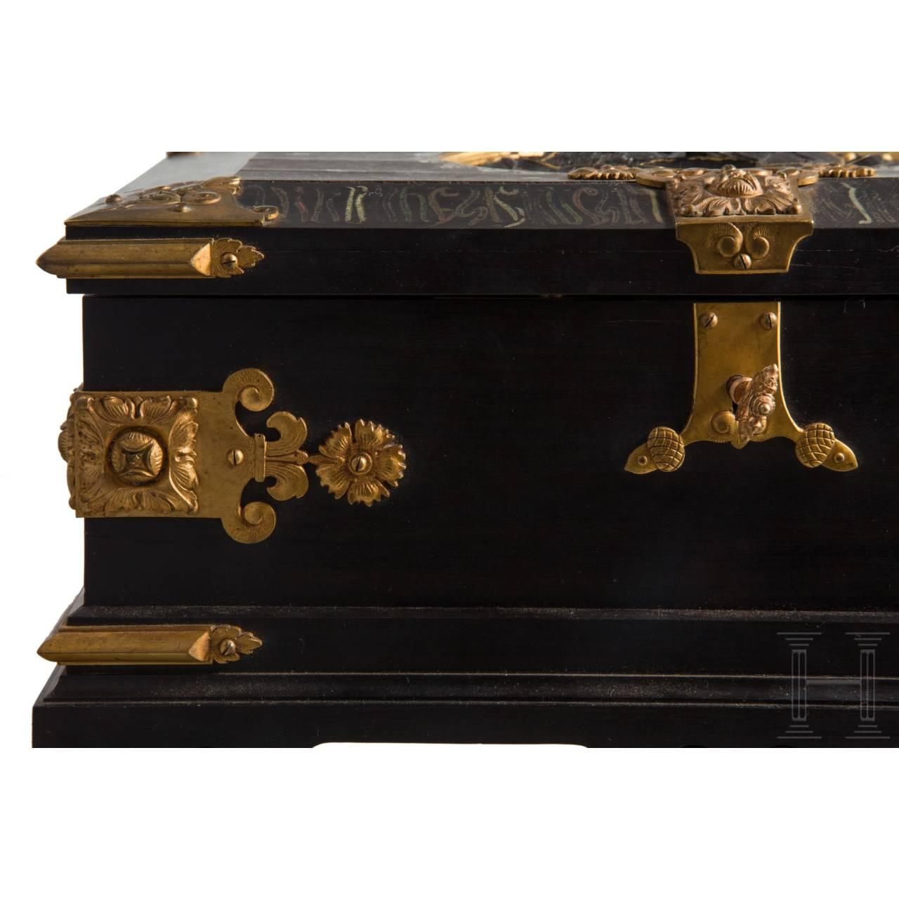 König Karl I. von Rumänien (1835 – 1914) – prunkvolle Ebenholzschatulle als Geschenk für Großadmiral von Köster