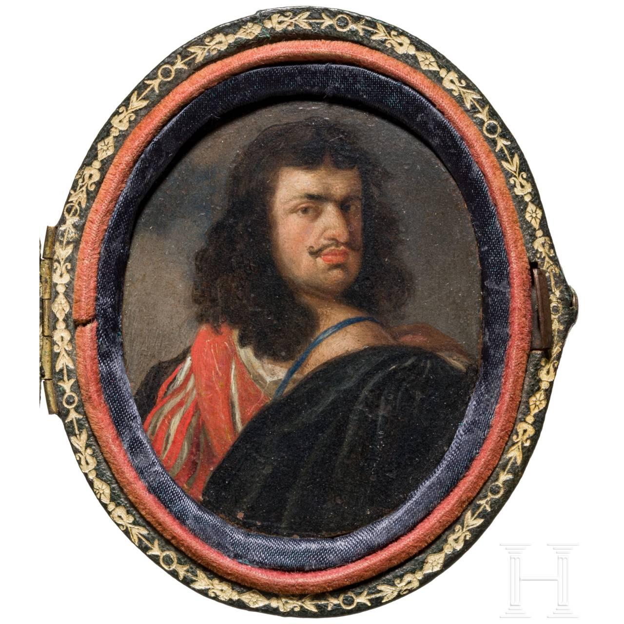 Gonzales Coques (Antwerpen 1614 - 1684), Miniaturmalerei, wohl Portrait des Malers Van Dyke