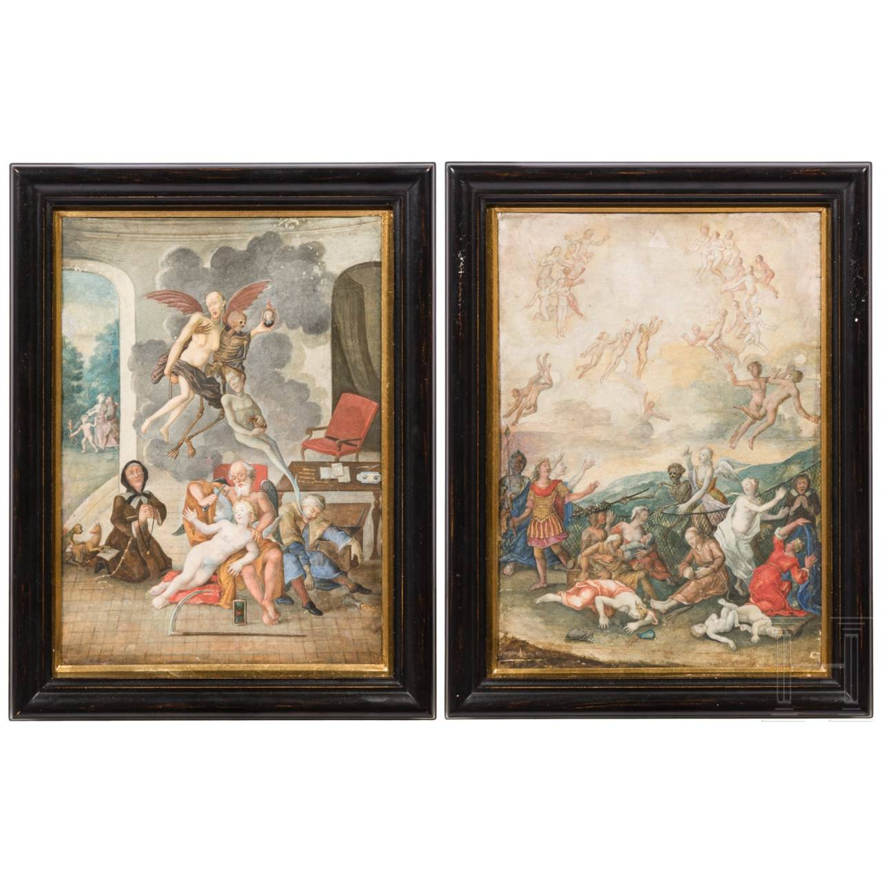 Ein Paar außergewöhnliche Vanitasdarstellungen, süddeutsch, frühes 18. Jhdt.