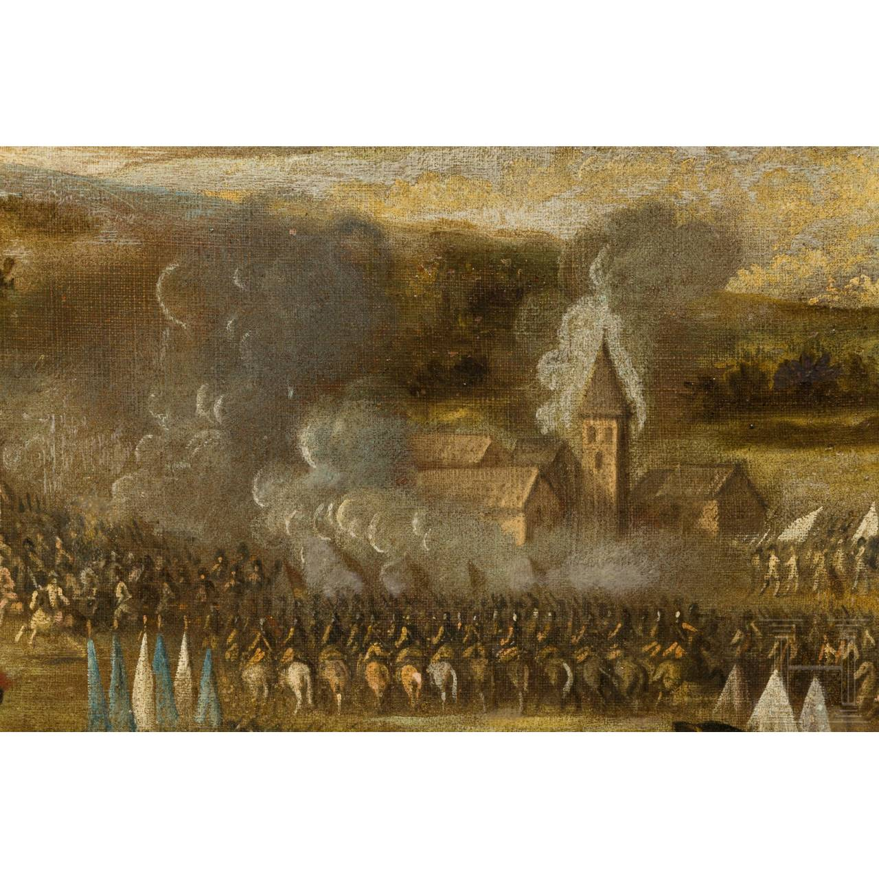 Schlachtenszene aus dem Spanischen Erbfolgekrieg, 18. Jhdt.