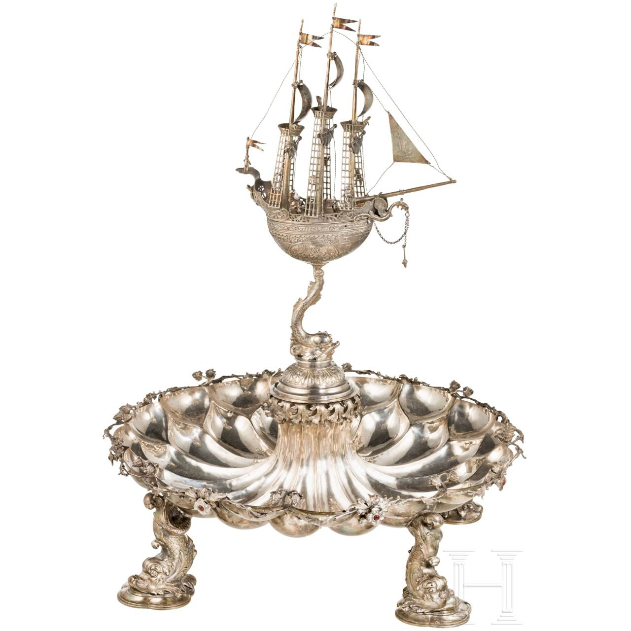An imposing German table centrepiece with almandine cabochons, circa 1900