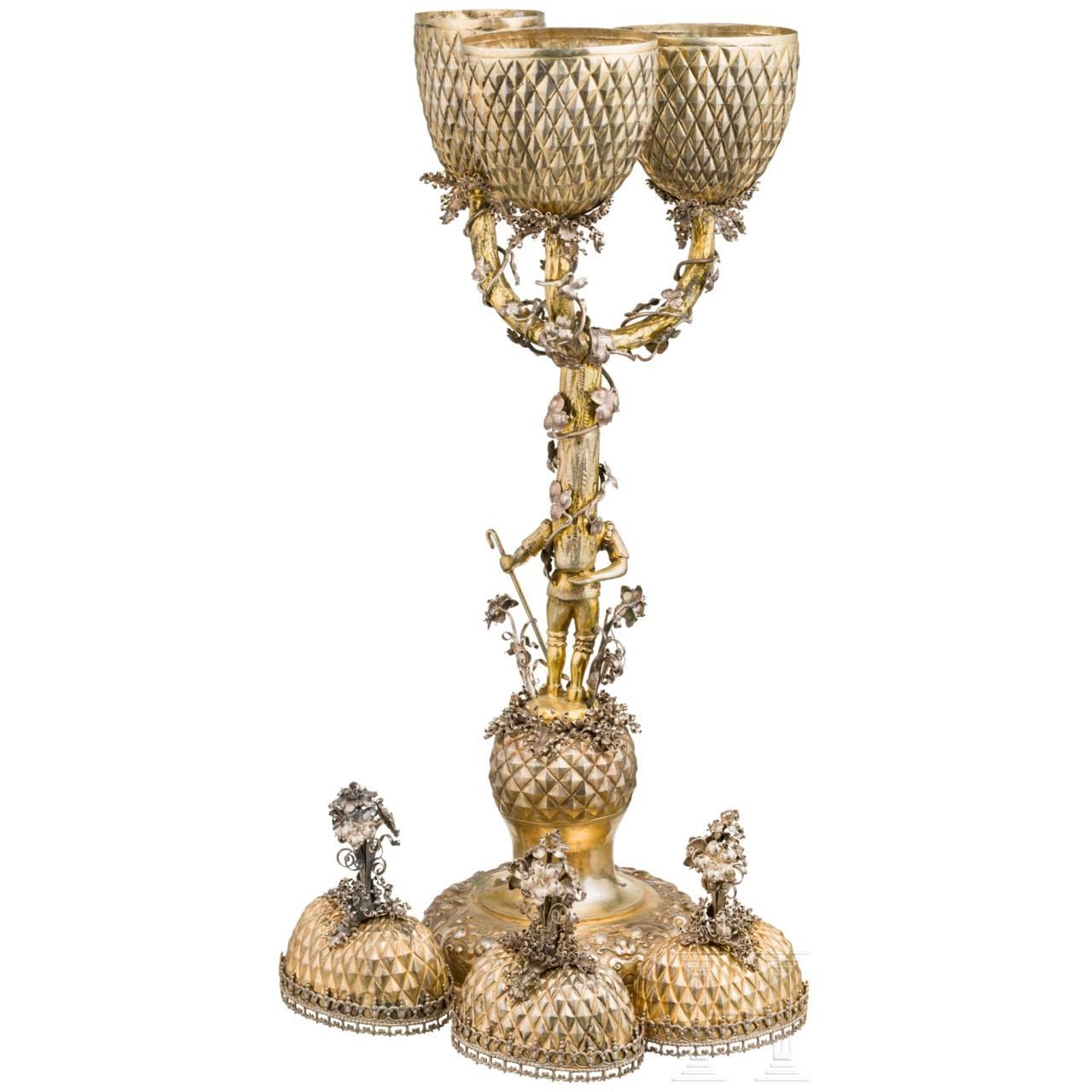 A German three-branch pineapple trophy, set with diamonds, circa 1900