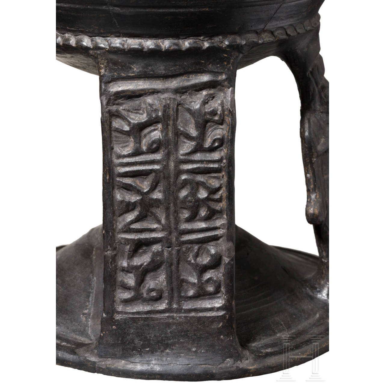 An Etruscan bucchero calix, late 7th century B.C.