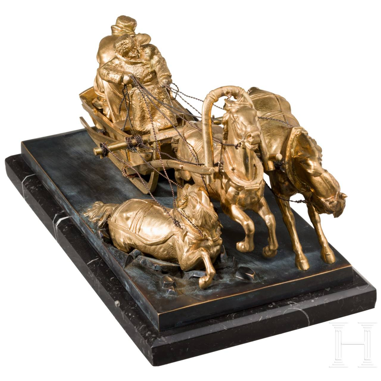 A gilt Russian sculpture of a troika, 19th century
