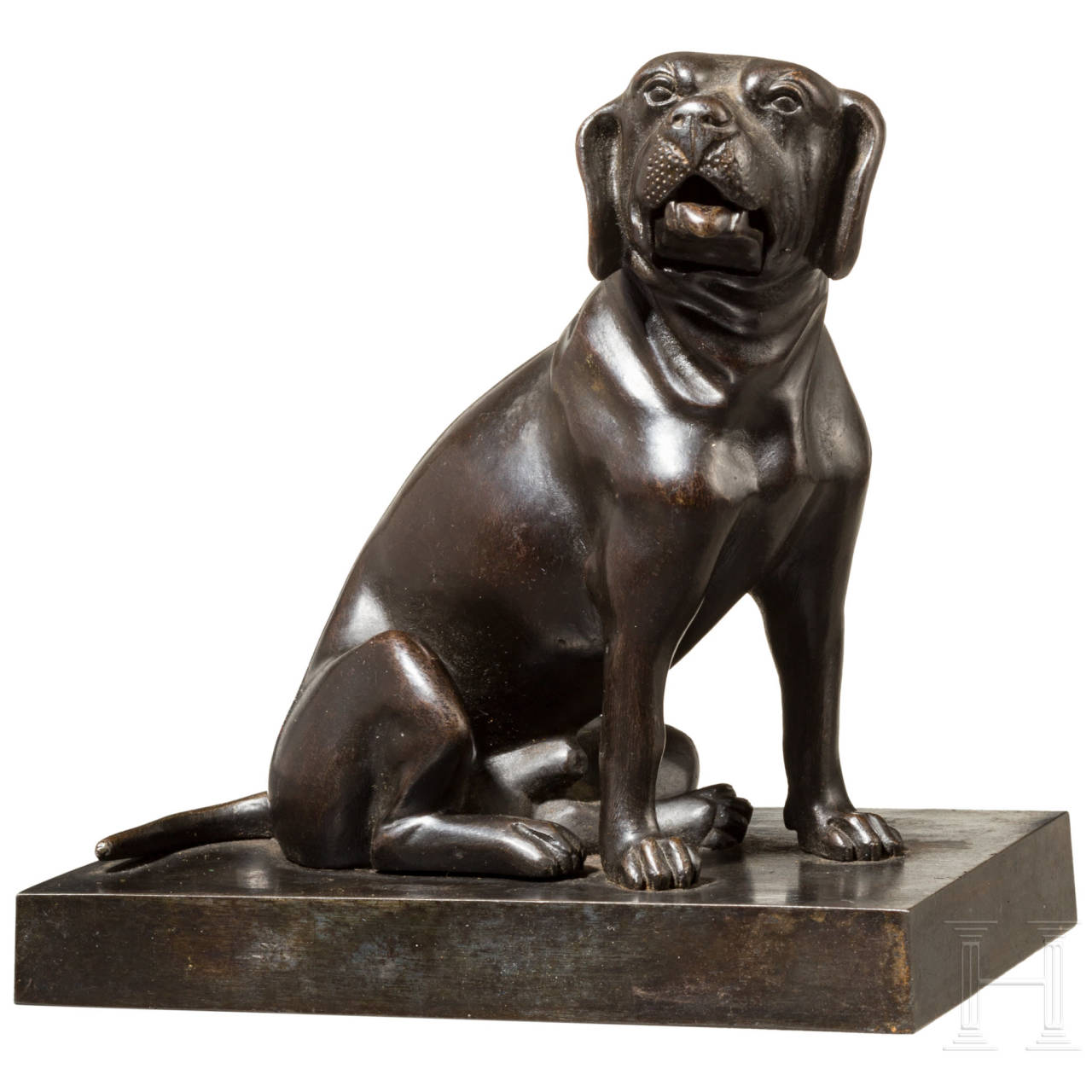 A Russian iron sculpture of a sitting dog as a card holder, Kasli, 19th century