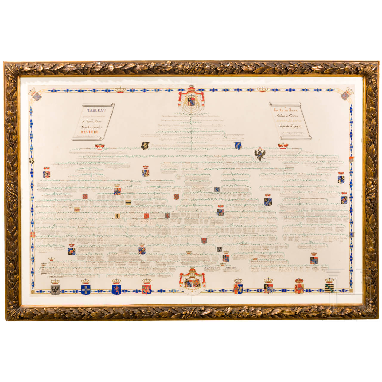 A large-size calligraphic family tree for the wedding of Prince Adalbert of Bavaria on 25 August 1856