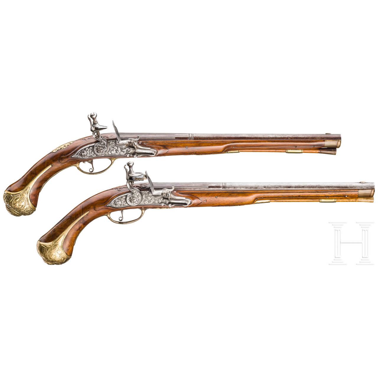 Ein Paar lange Steinschlosspistolen, deutsch, um 1710/20