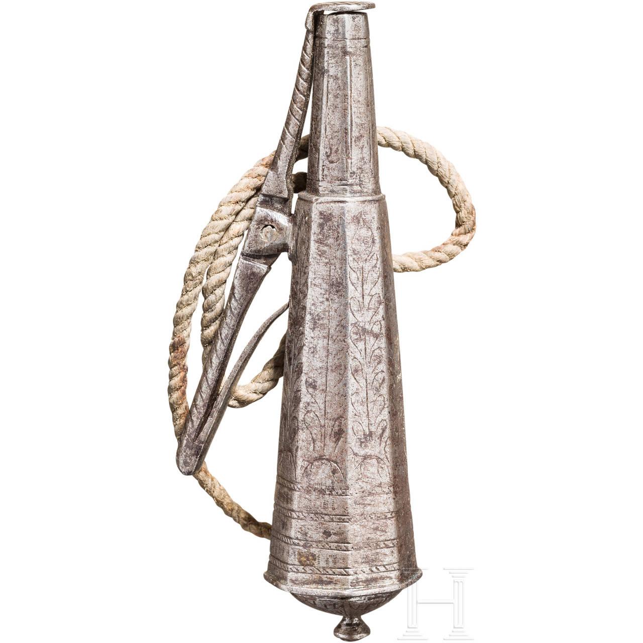 Kleine, eiserne Zündkrautflasche, deutsch, um 1600