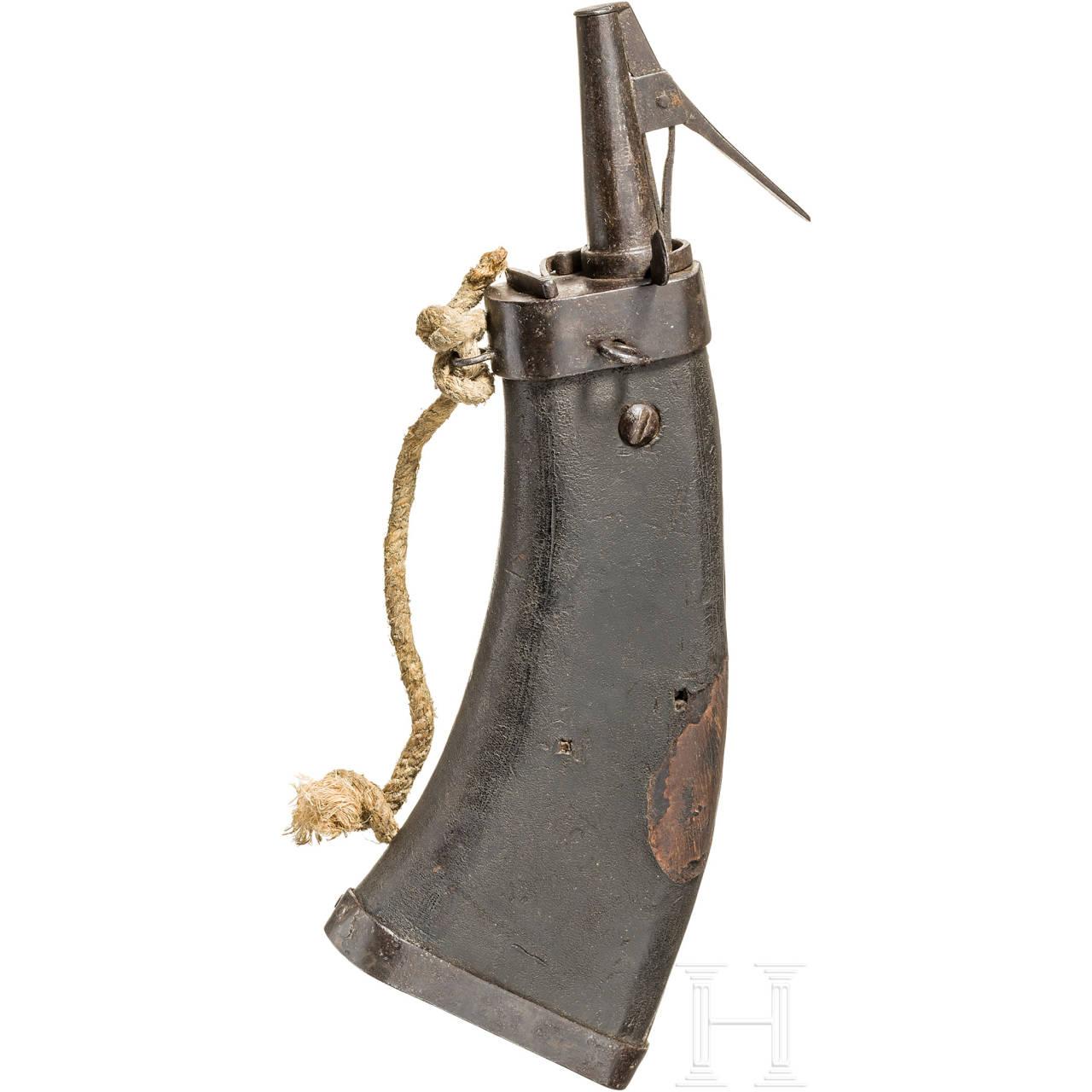 Militärische Pulverflasche, deutsch, um 1600