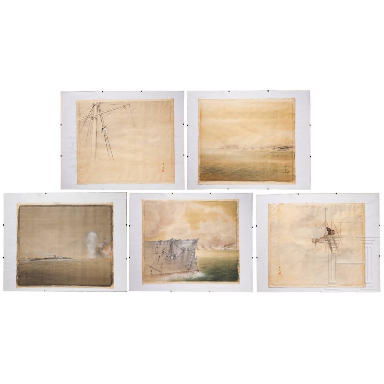 Tanryo Murata (1874 - 1940) - fünf Gemälde zur Kaiserlich Japanischen Marine, Meiji-Periode