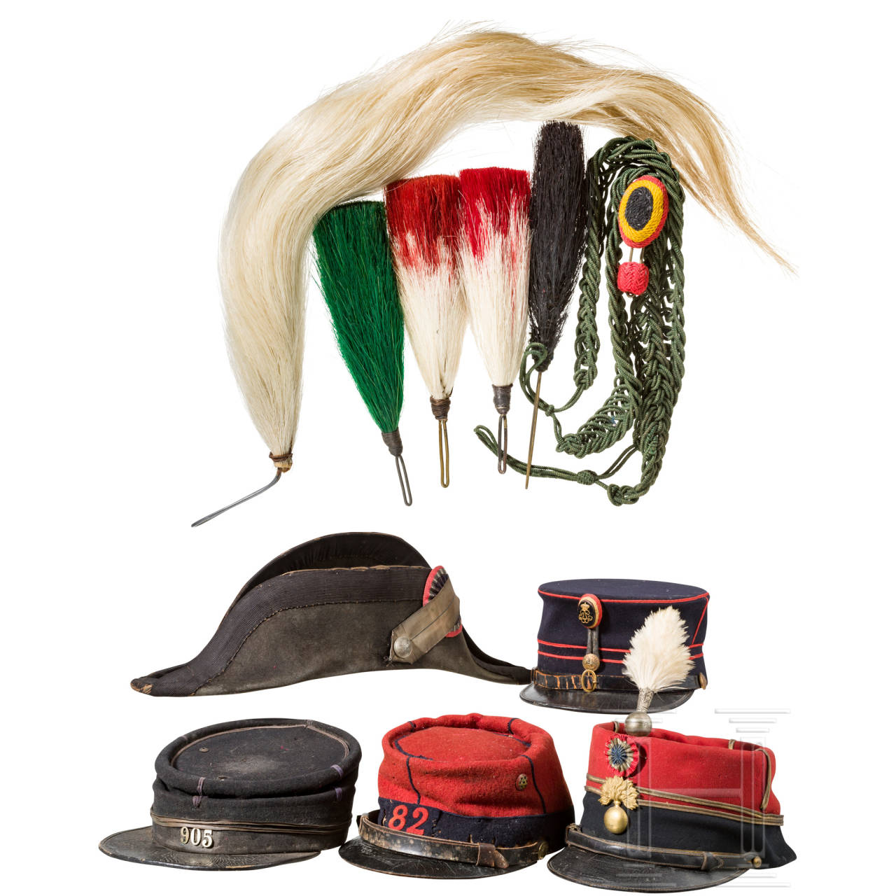 A collection of French/Belgian headgear and accessories, 19th/20th century