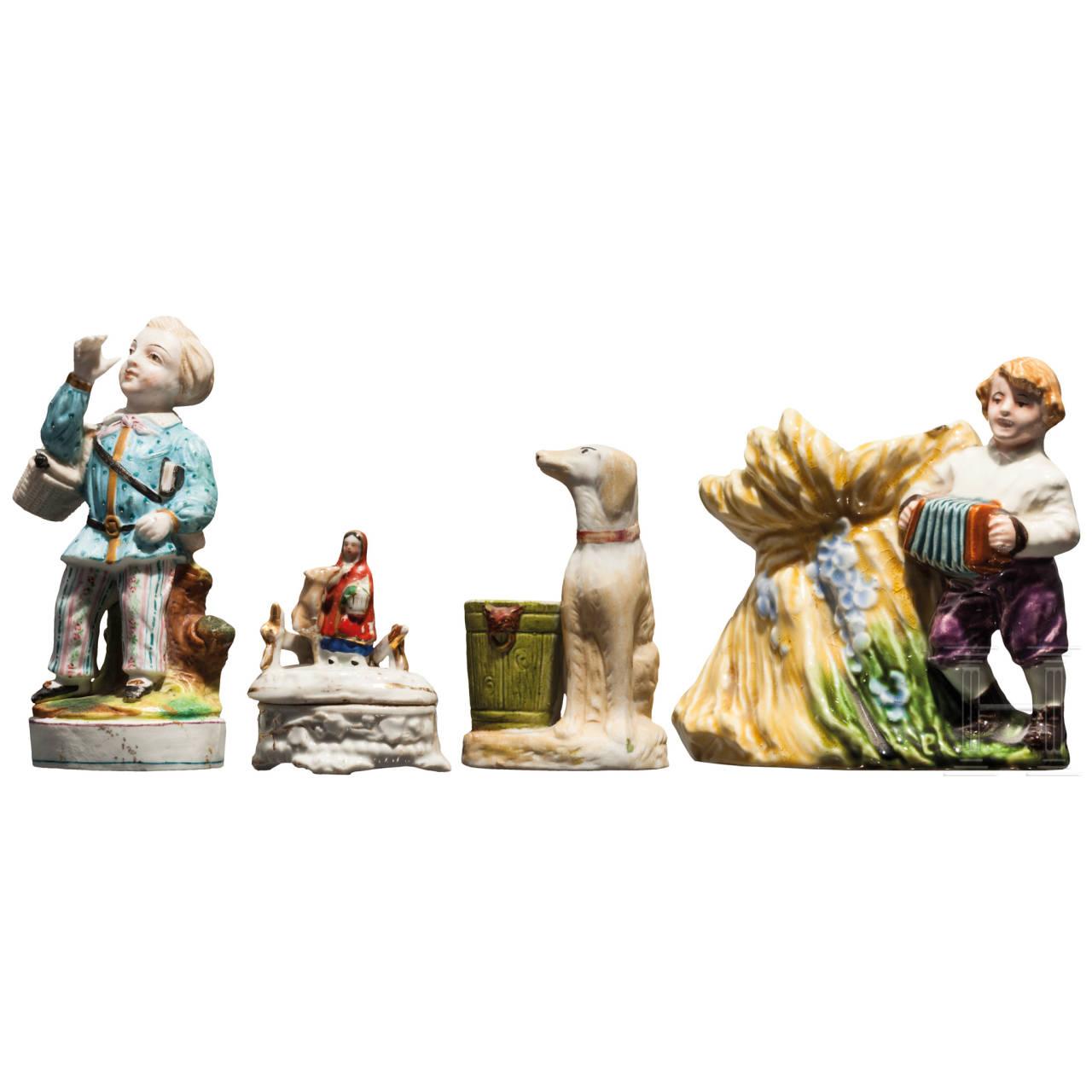 Drei handbemalte Porzellanfiguren und eine Fayence-Figur, wohl Russland, Privatmanufaktur, 2. Hälfte 19. Jhdt.