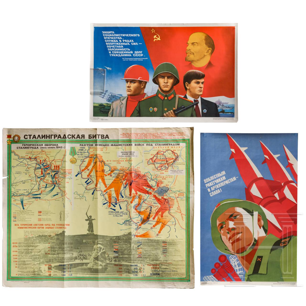Drei Propagandaplakate zum Militär, 1970er/80er Jahre