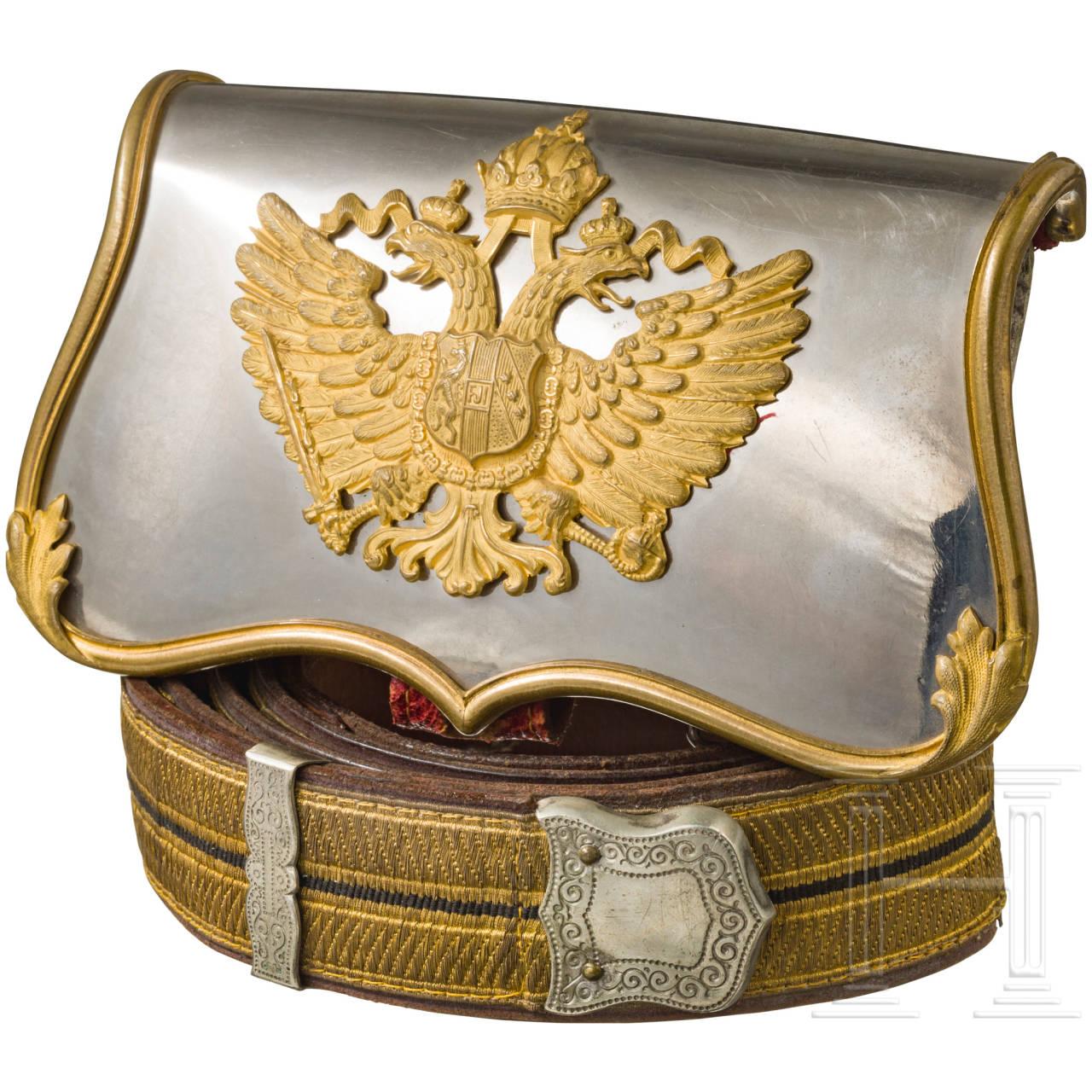 Kartuschkasten für Offiziere der Kavallerie mit Bandelier, Österreich