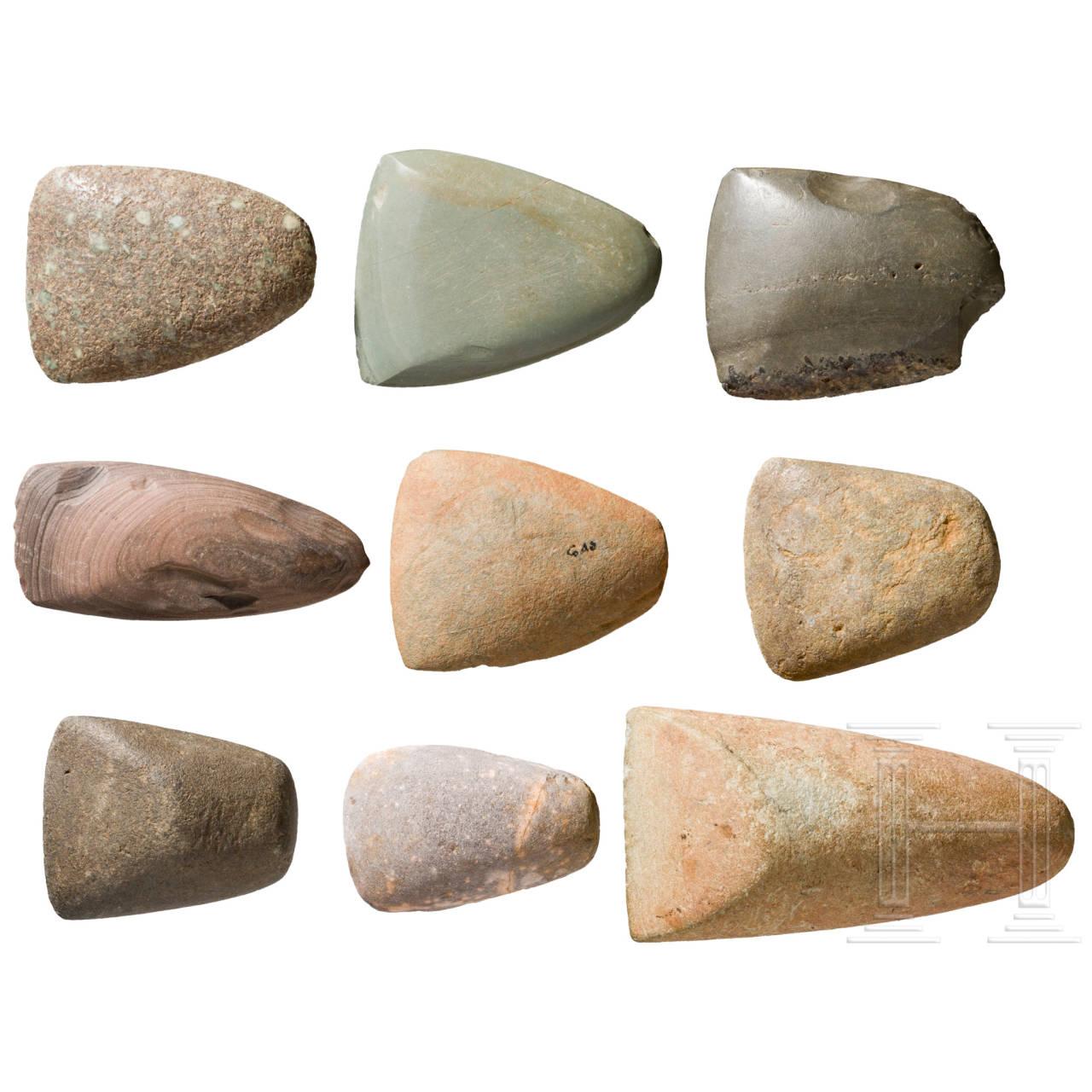 Neun Beil-Einsatzklingen, Sahara, neolithisch