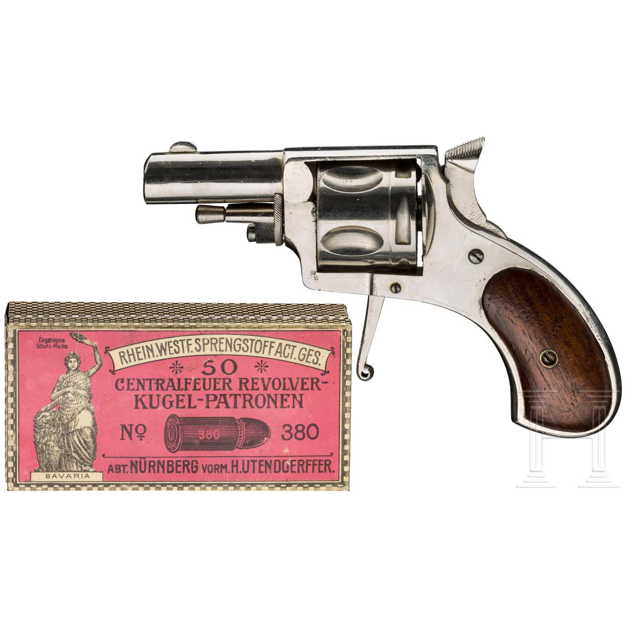 Bulldog-Revolver Lebeaux, Belgien, vernickelt
