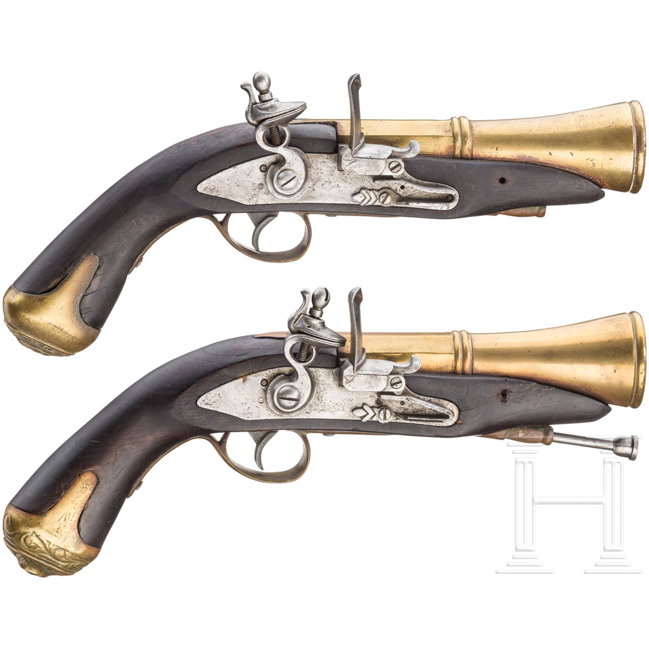 A pair of Spanish flintlock blunderbuss pistols, 20th century