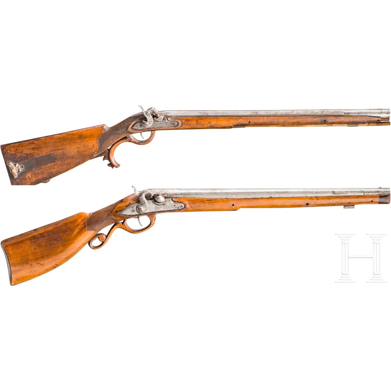 Zwei Perkussionsflinten, süddeutsch, um 1780