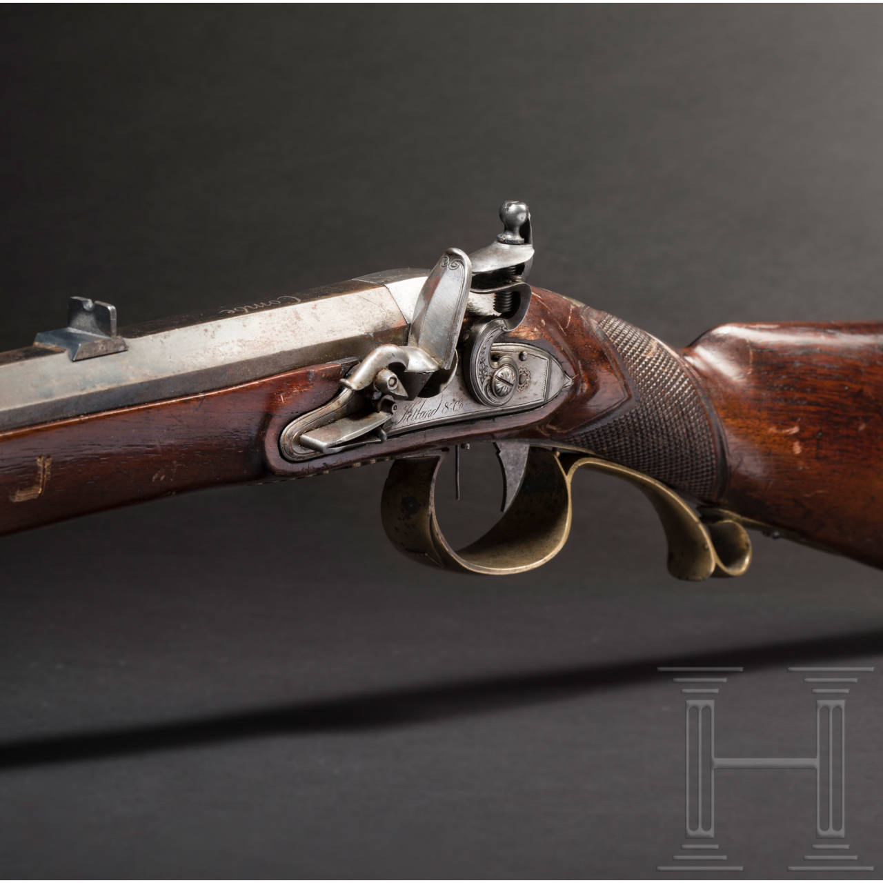 A left-handed flintlock rifle, circa 1810
