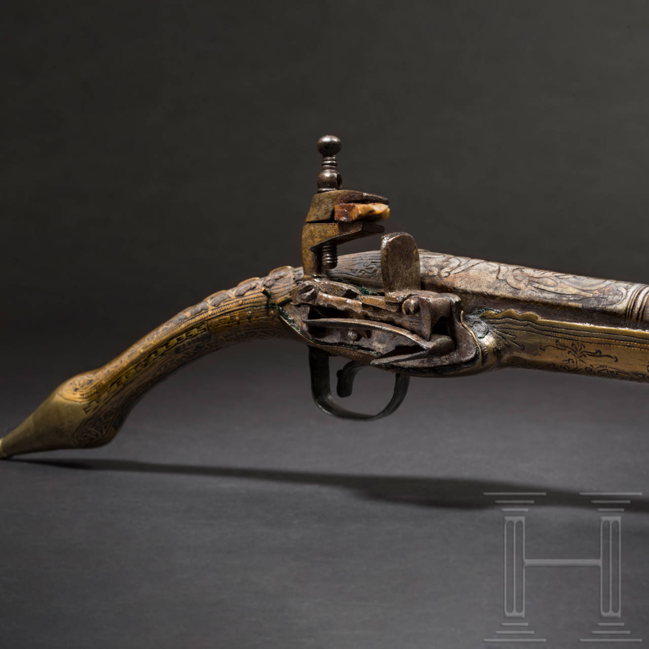 "An Albanian ""rat tail"" miquelet pistol, 19th century"