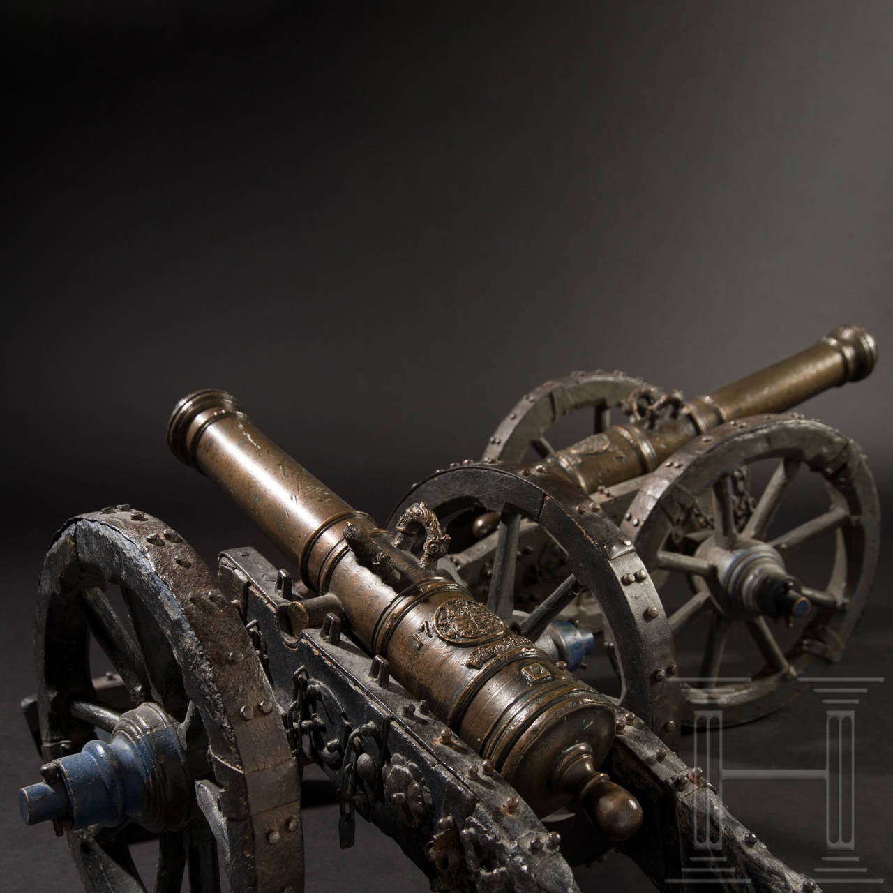 A pair of small German cannons from a noble family, dated 1707