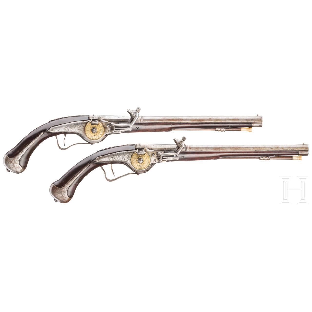 A pair of officer's wheellock pistols, Suhl, circa 1650