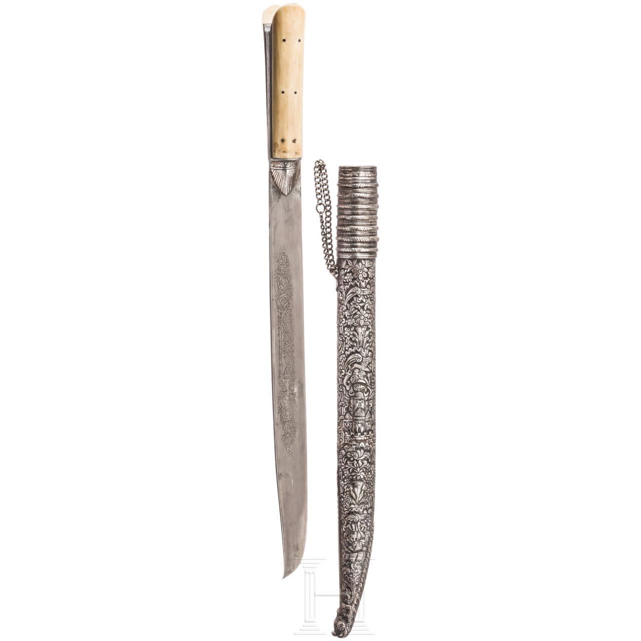 Silbermontiertes Kreta-Messer mit Elfenbeingriff, um 1800