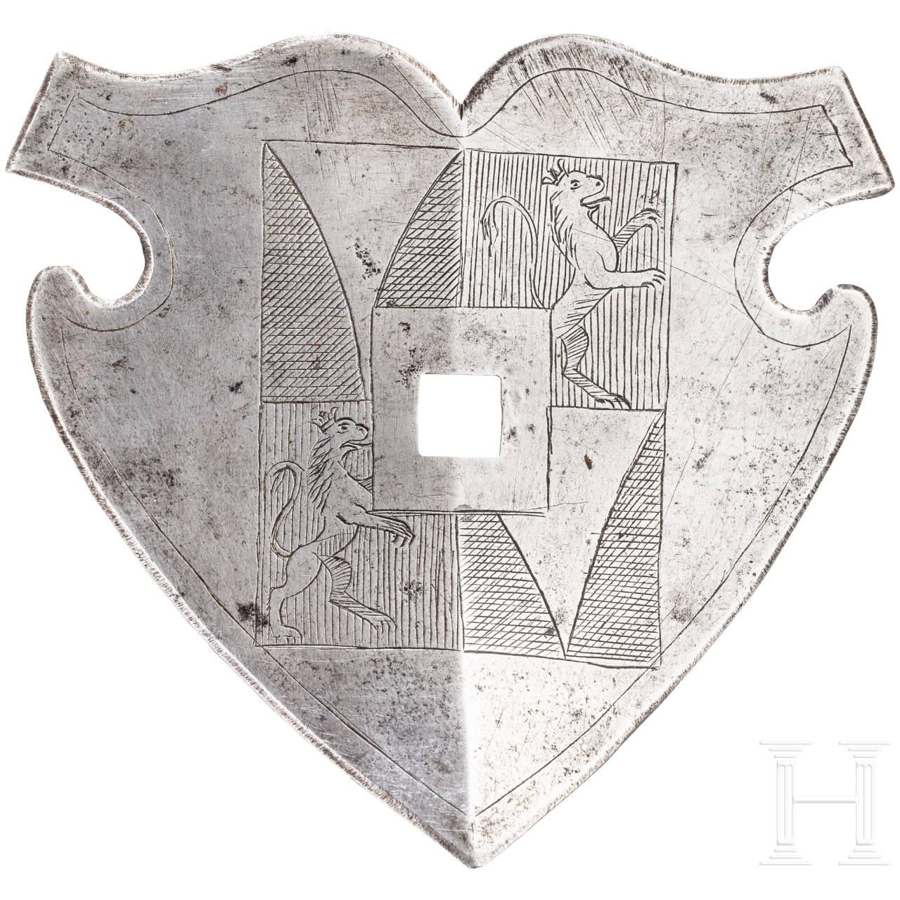 Wappenschild für eine Rossstirn, 16. Jhdt.