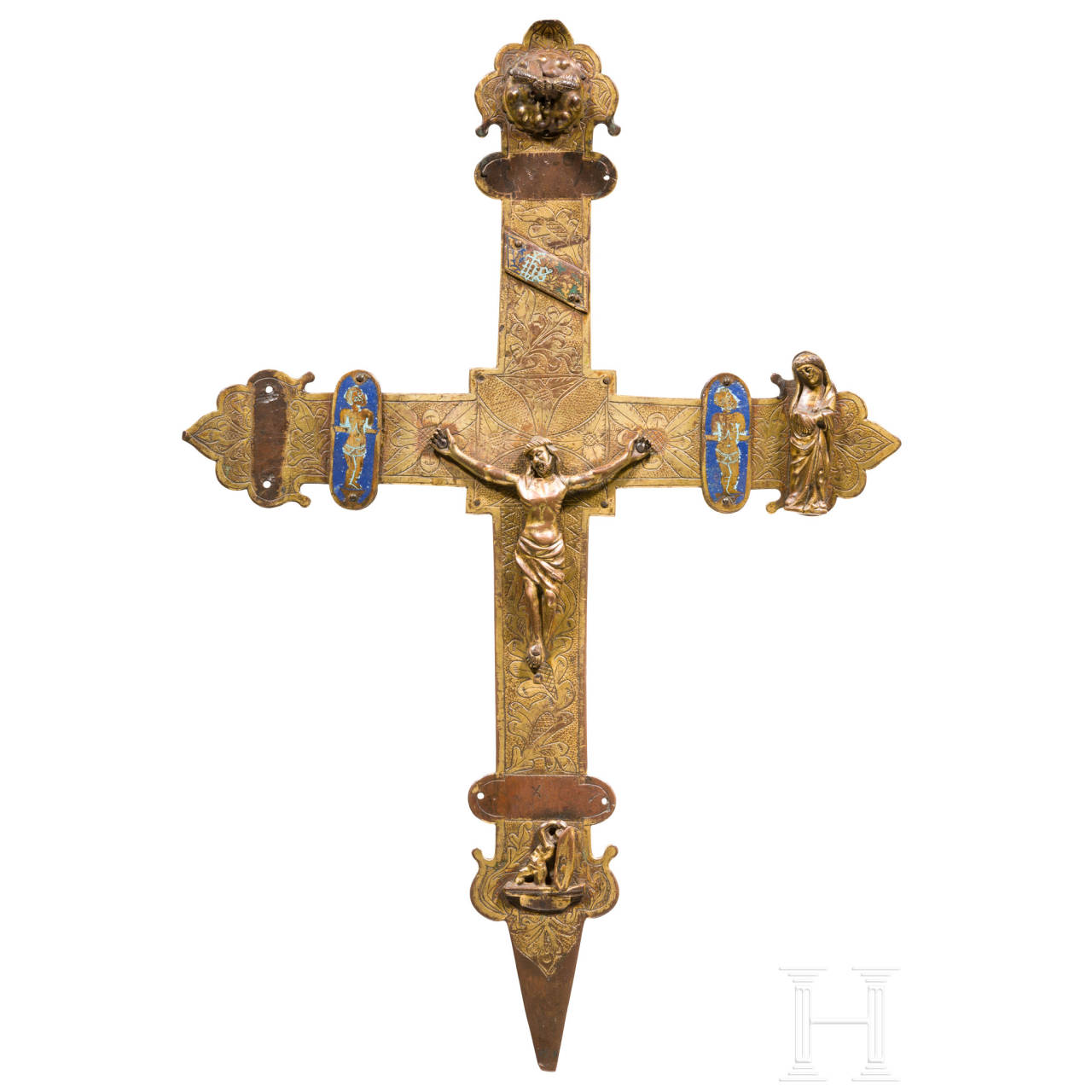 A French gilded cross with partial enamel, Limoges, 15th century