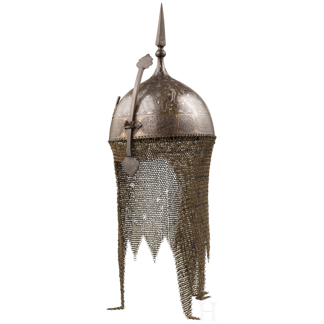 A Persian silver-inlaid helmet, 19th century