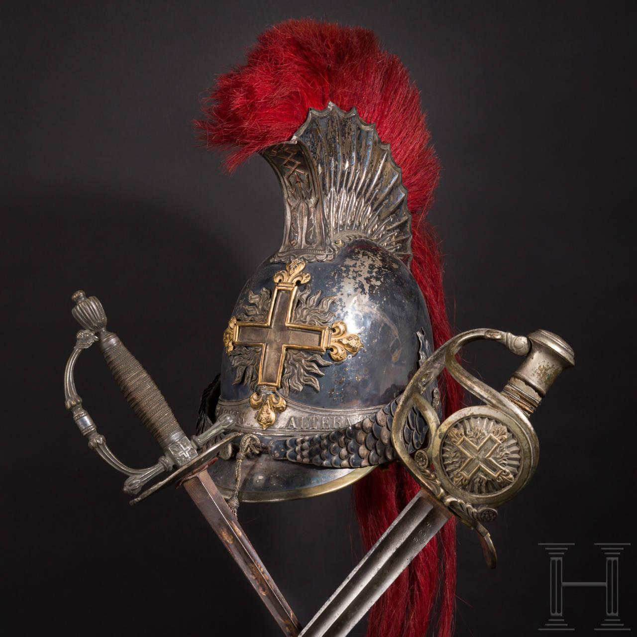 Helm, Säbel und Degen der Mousquetaires noirs de la Maison du Roi, um 1814/15