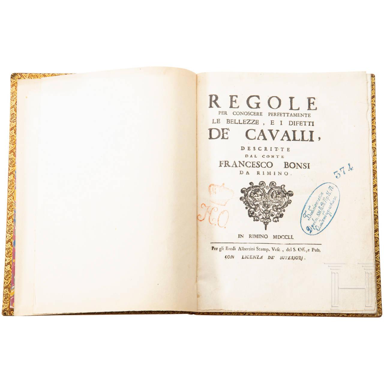 "Conte Francesco Bonsi, ""Regole de Cavalli"", Rimino (Rimini), 1751"