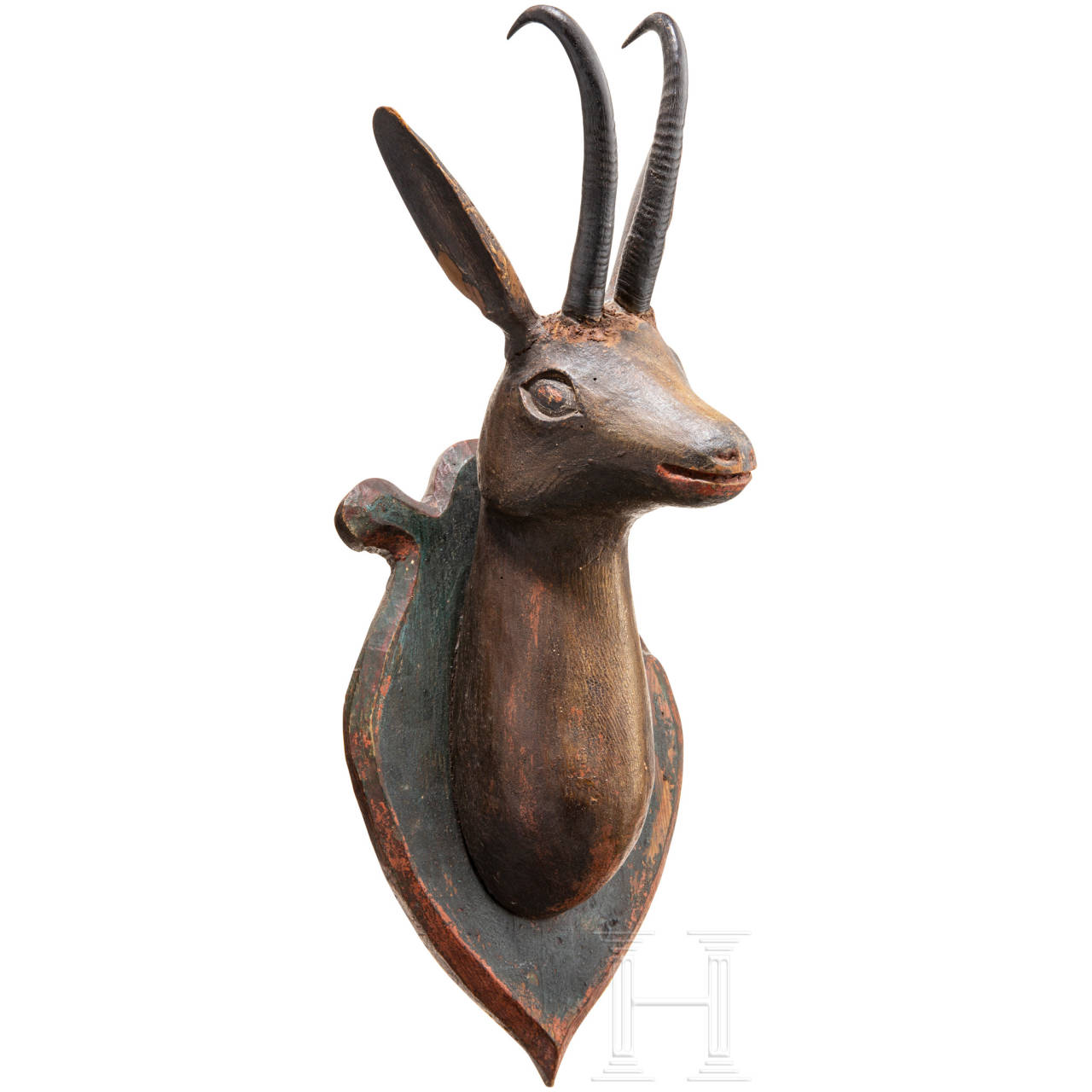 A chamois buck trophy on wood-carved plate, South German/Austrian, 19th century