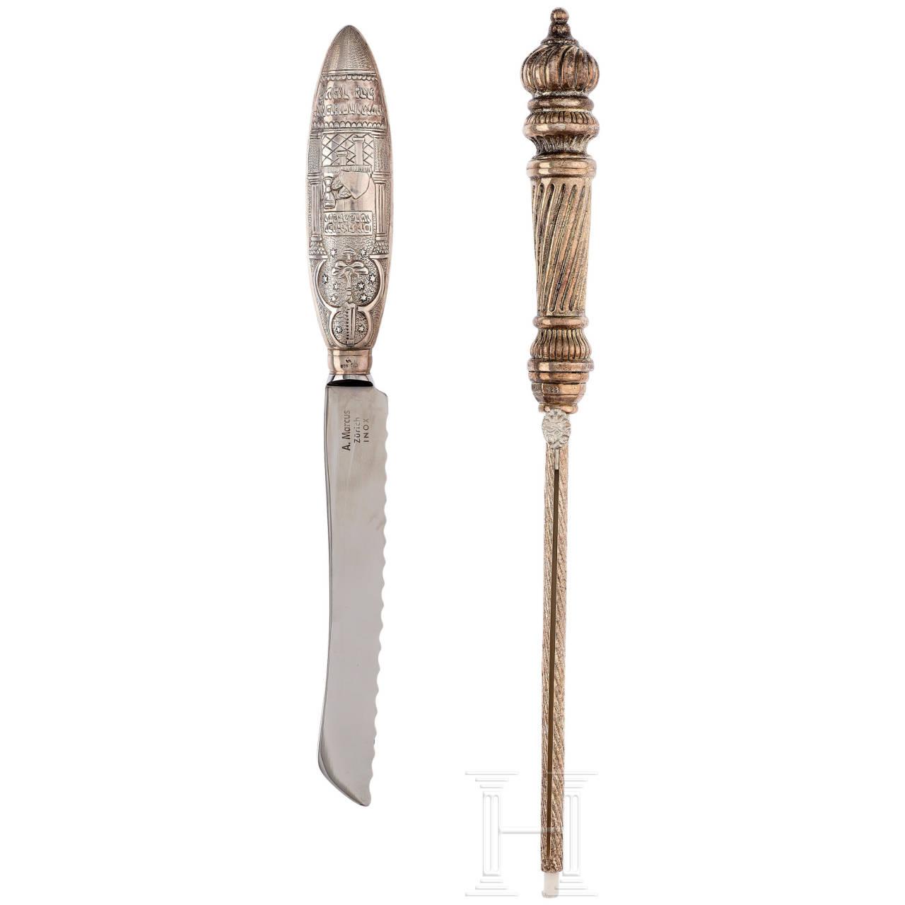 Silbergefasstes Messer und Anzünder, Schweiz, 20. Jhdt.