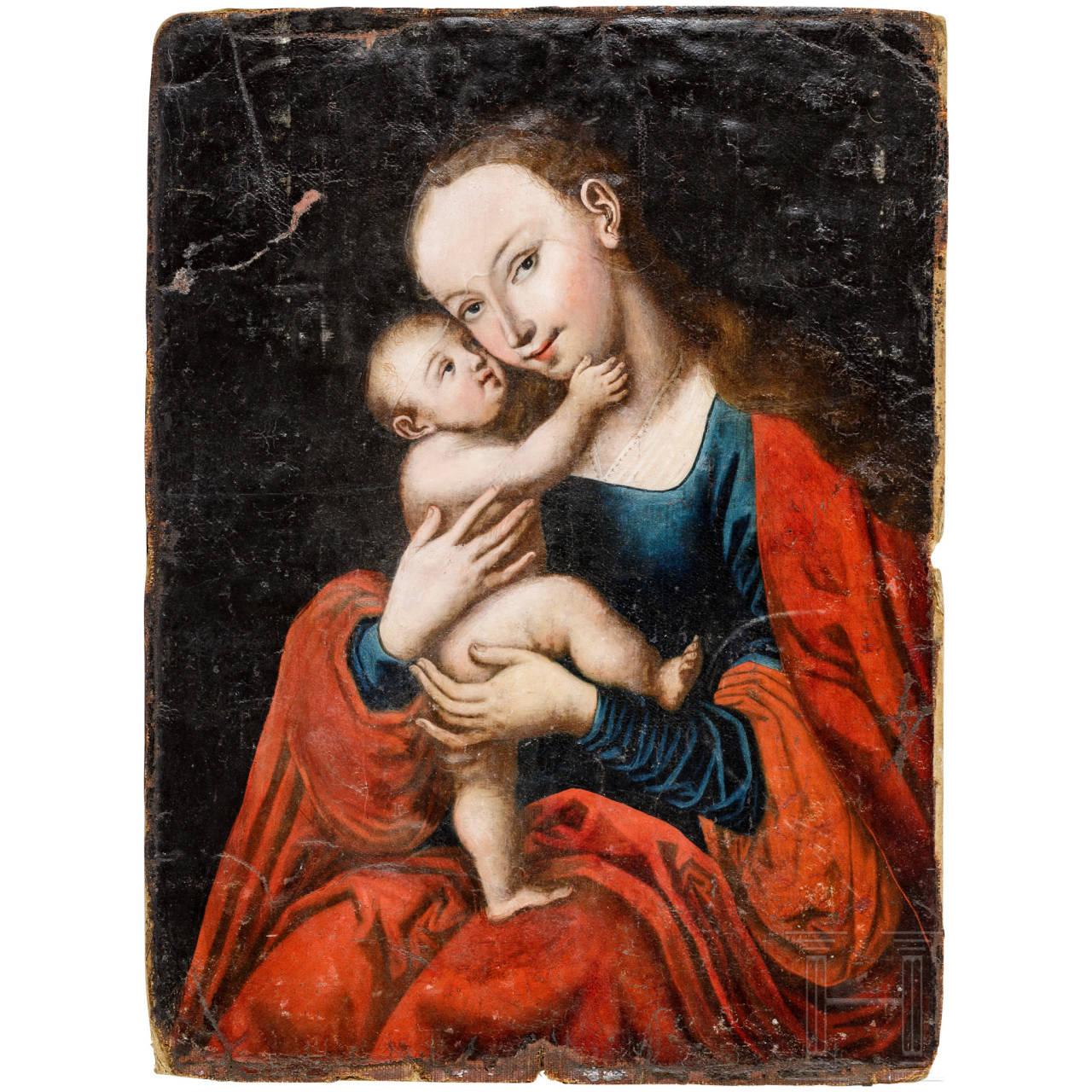 Gotische Madonna in der Art Hans Memlings, deutsch, 17./18. Jhdt.