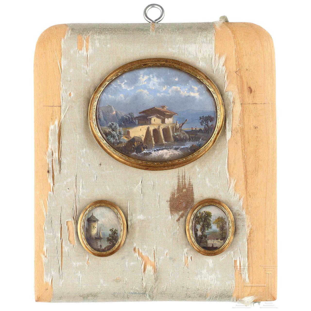 Satz von drei feinen, klassizistischen Miniaturen, Italien, Anfang 19. Jhdt.