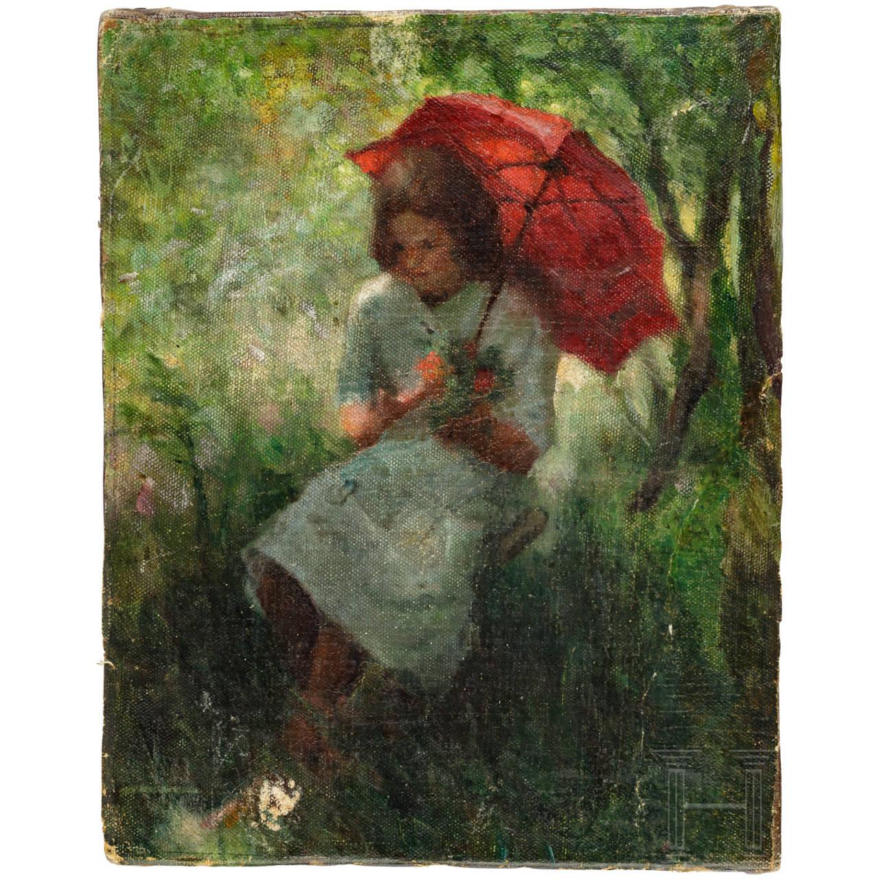 """""""Mädchen mit rotem Sonnenschirm"""", Impressionismus, deutsch/Frankreich, Ende 19. Jhdt."""