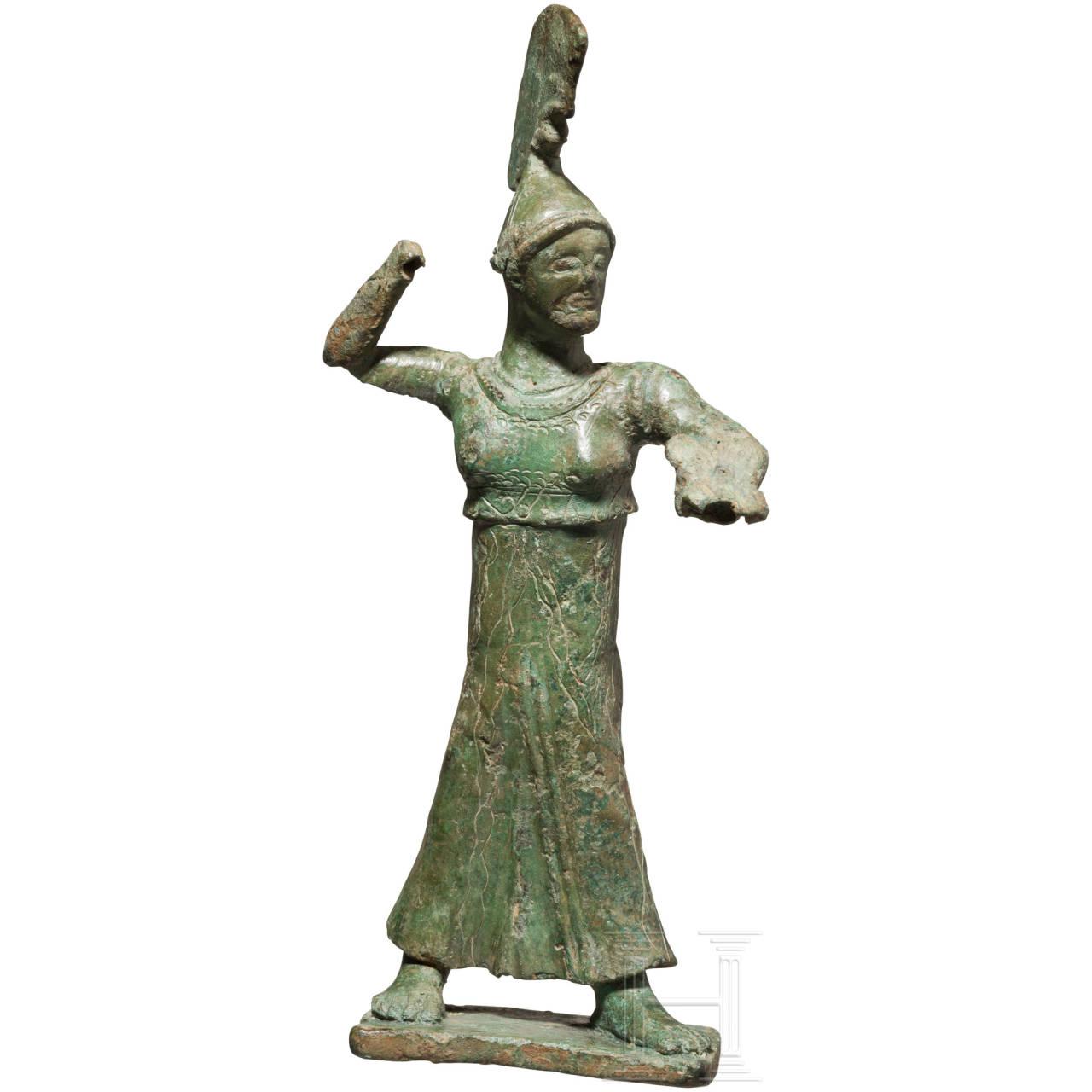 Bronzestatuette der Athena Promachos, griechisch, frühe Klassik, um 500 v. Chr.