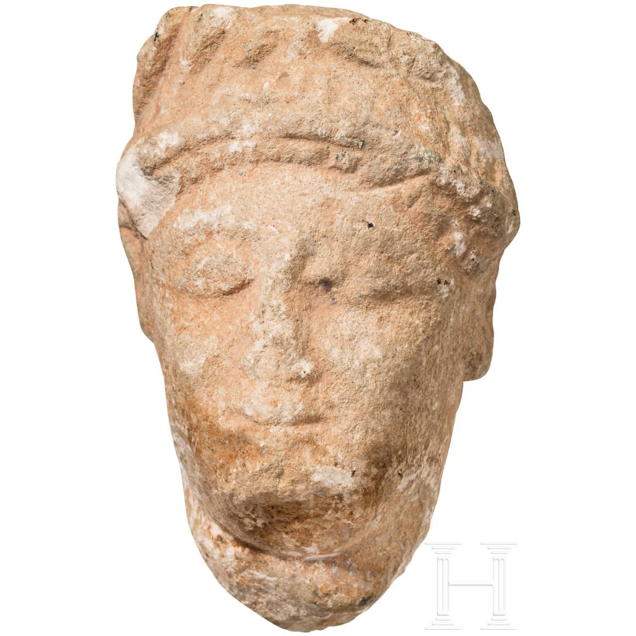 Kalksteinkopf, östlicher Mittelmeerraum, römisch, 2. - 3. Jhdt.